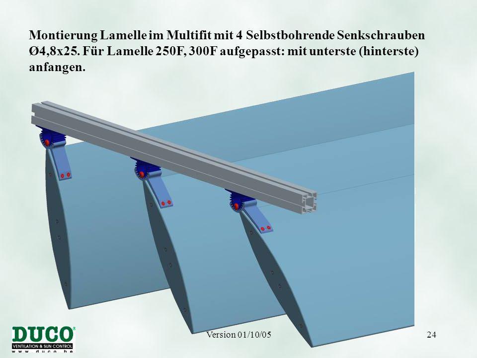 Version 01/10/0524 Montierung Lamelle im Multifit mit 4 Selbstbohrende Senkschrauben Ø4,8x25.