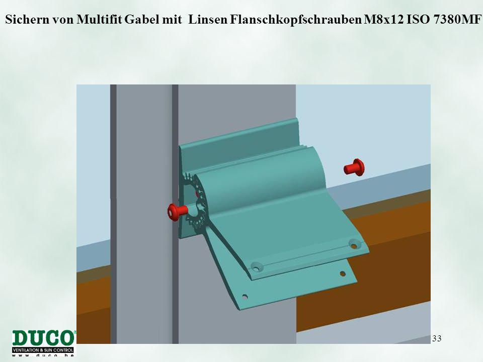 Version 01/10/0533 Sichern von Multifit Gabel mit Linsen Flanschkopfschrauben M8x12 ISO 7380MF.