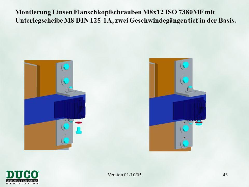 Version 01/10/0543 Montierung Linsen Flanschkopfschrauben M8x12 ISO 7380MF mit Unterlegscheibe M8 DIN 125-1A, zwei Geschwindegängen tief in der Basis.