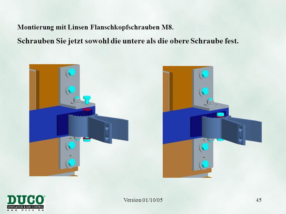 Version 01/10/0545 Montierung mit Linsen Flanschkopfschrauben M8.