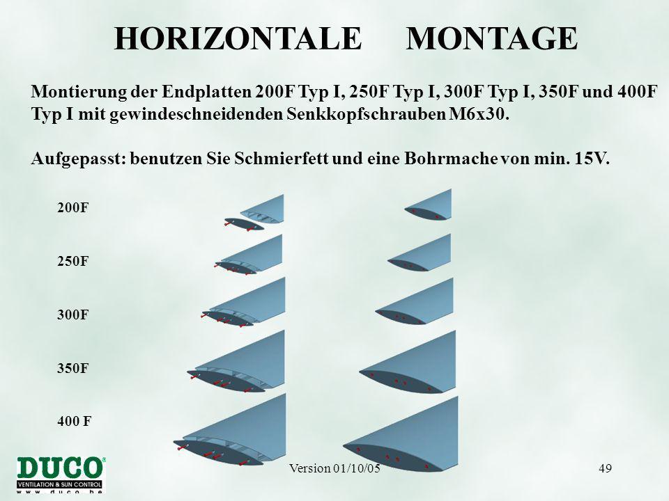 Version 01/10/0549 200F 250F 300F 350F 400 F HORIZONTALE MONTAGE Montierung der Endplatten 200F Typ I, 250F Typ I, 300F Typ I, 350F und 400F Typ I mit