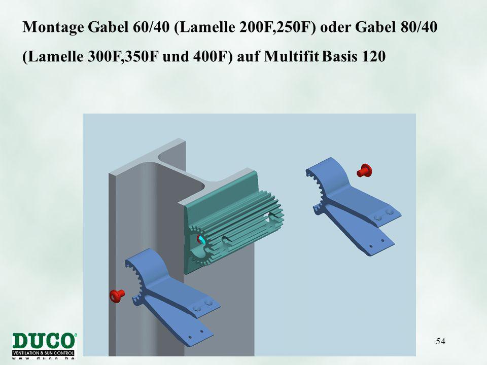Version 01/10/0554 Montage Gabel 60/40 (Lamelle 200F,250F) oder Gabel 80/40 (Lamelle 300F,350F und 400F) auf Multifit Basis 120