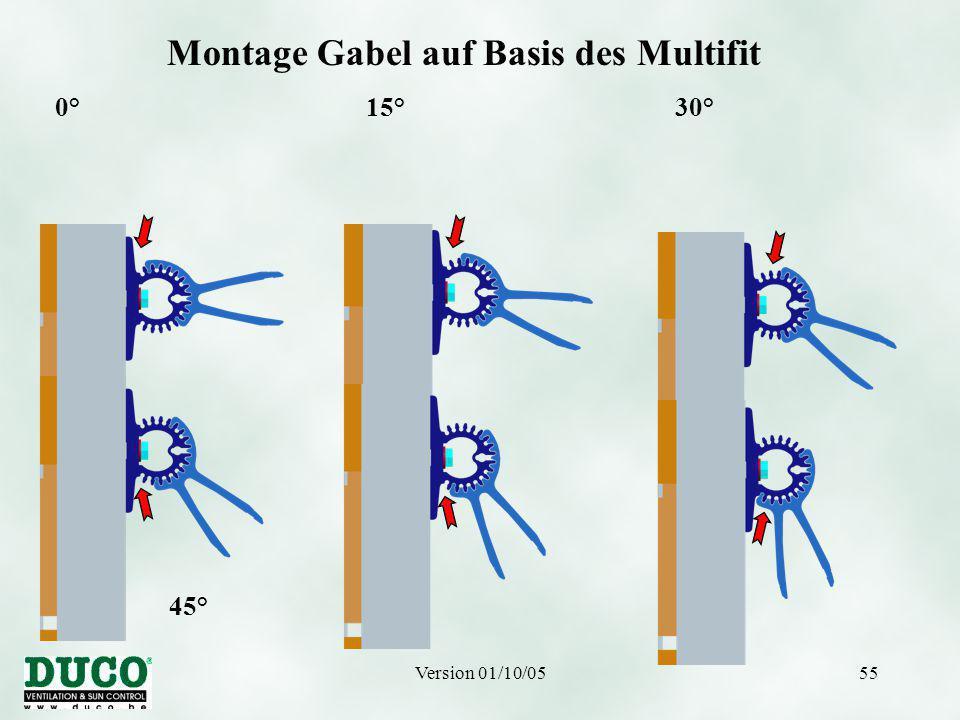 Version 01/10/0555 Montage Gabel auf Basis des Multifit 0° 15° 30° 45° 60° 75°