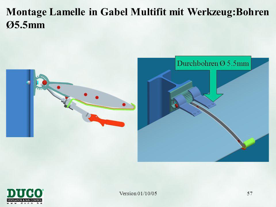 Version 01/10/0557 Montage Lamelle in Gabel Multifit mit Werkzeug:Bohren Ø5.5mm Durchbohren Ø 5.5mm