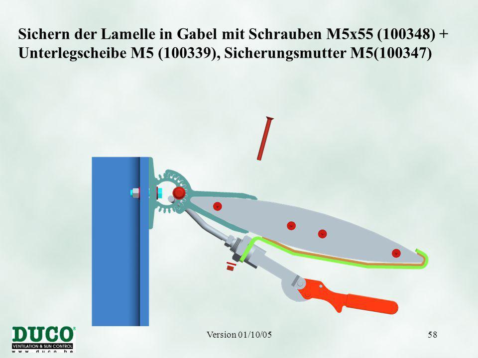 Version 01/10/0558 Sichern der Lamelle in Gabel mit Schrauben M5x55 (100348) + Unterlegscheibe M5 (100339), Sicherungsmutter M5(100347)