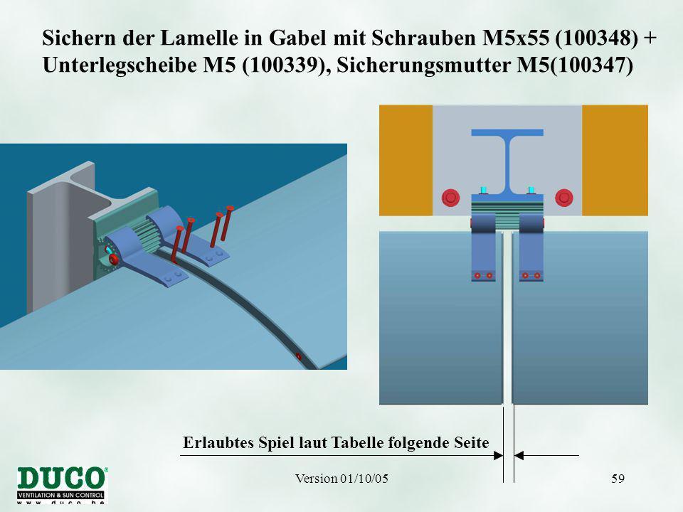 Version 01/10/0559 Sichern der Lamelle in Gabel mit Schrauben M5x55 (100348) + Unterlegscheibe M5 (100339), Sicherungsmutter M5(100347) Erlaubtes Spiel laut Tabelle folgende Seite