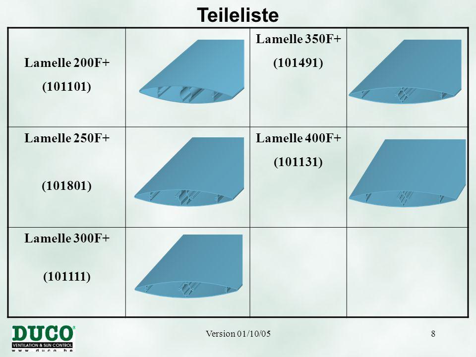 Version 01/10/058 Teileliste Lamelle 200F+ (101101) Lamelle 350F+ (101491) Lamelle 250F+ (101801) Lamelle 400F+ (101131) Lamelle 300F+ (101111)