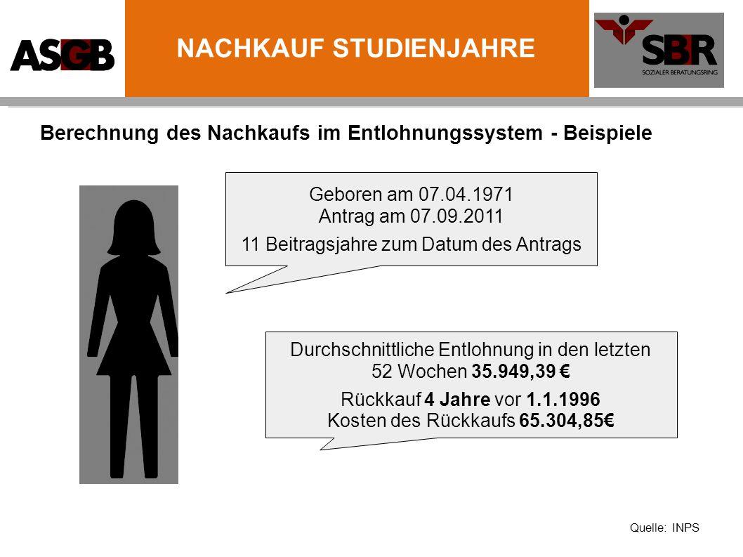 Berechnung des Nachkaufs im Entlohnungssystem - Beispiele Geboren am 07.04.1971 Antrag am 07.09.2011 11 Beitragsjahre zum Datum des Antrags Durchschni