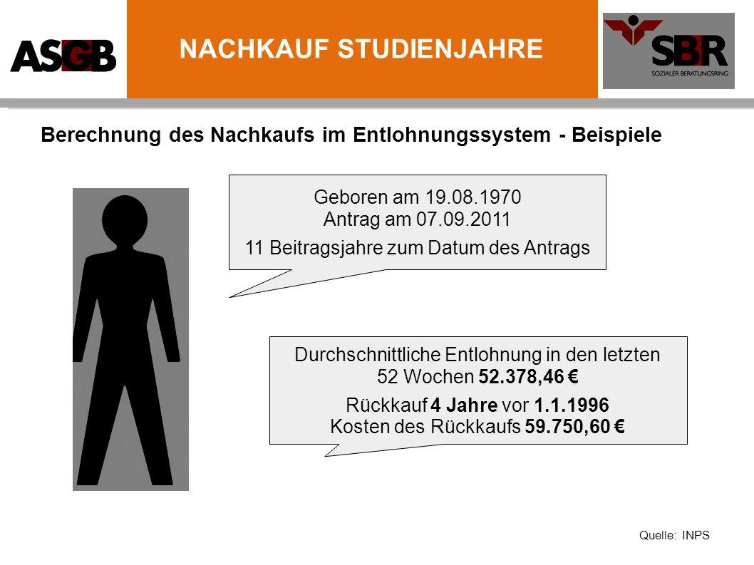 Berechnung des Nachkaufs im Entlohnungssystem - Beispiele Geboren am 19.08.1970 Antrag am 07.09.2011 11 Beitragsjahre zum Datum des Antrags Durchschni