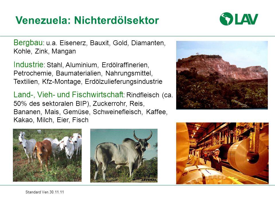 Standard Ven.30.11.11 Venezuela: Nichterdölsektor Bergbau : u.a. Eisenerz, Bauxit, Gold, Diamanten, Kohle, Zink, Mangan Industrie : Stahl, Aluminium,