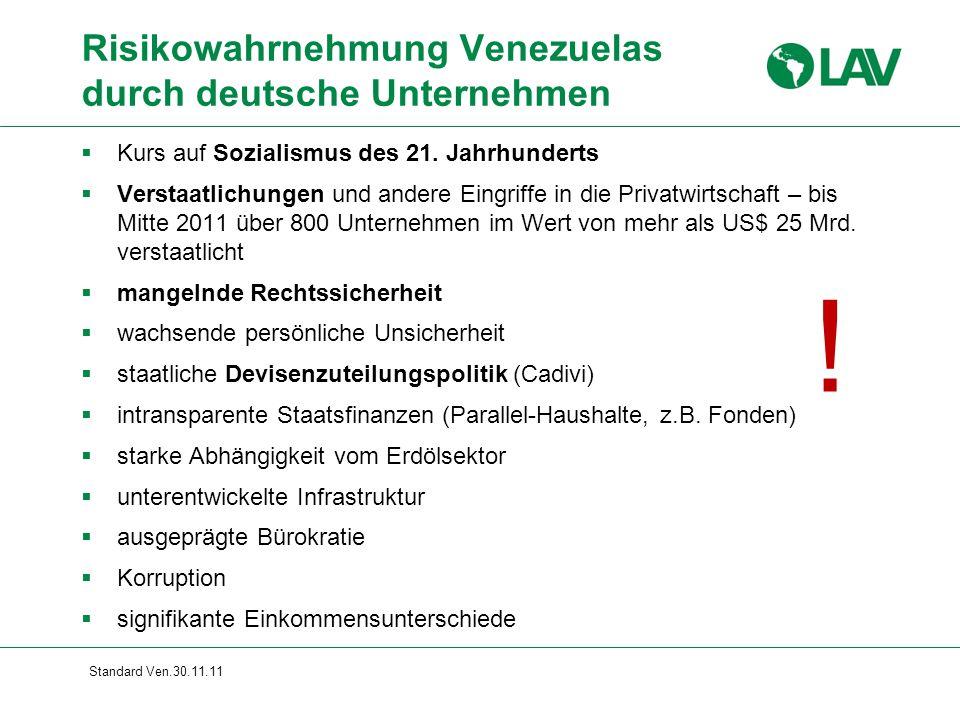 Standard Ven.30.11.11 Risikowahrnehmung Venezuelas durch deutsche Unternehmen !  Kurs auf Sozialismus des 21. Jahrhunderts  Verstaatlichungen und an