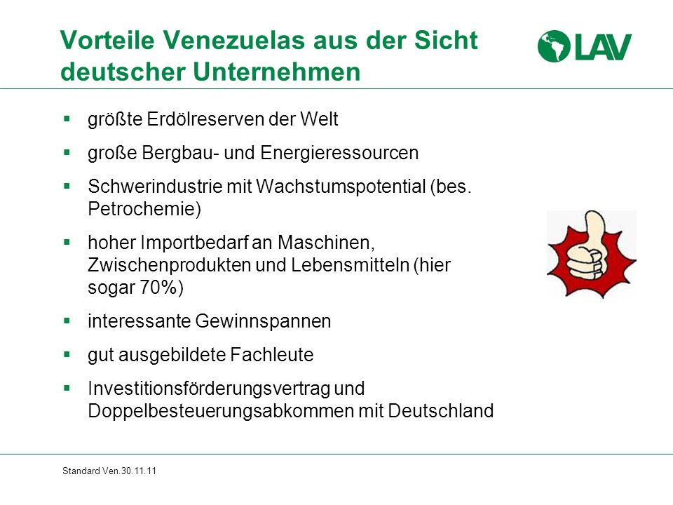 Standard Ven.30.11.11 Vorteile Venezuelas aus der Sicht deutscher Unternehmen  größte Erdölreserven der Welt  große Bergbau- und Energieressourcen  Schwerindustrie mit Wachstumspotential (bes.