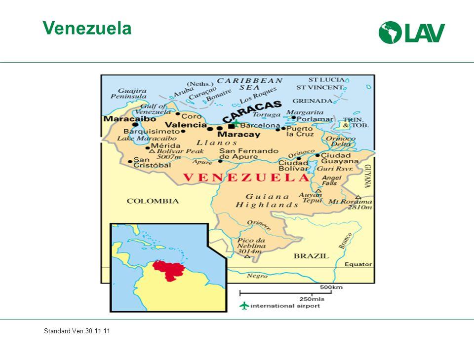 Standard Ven.30.11.11 Hugo Chávez Frias 1992: Beteiligung an Putschversuch 1998: Präsident mit 56% der Stimmen 2000: erste Wiederwahl mit 60% der Stimmen 2002: Militärputschversuch gegen Chávez 2004: 59% lehnen Amtsenthebungsreferendum ab 2006: zweite Wiederwahl mit 63% der Stimmen 2009: 55% stimmen für unbegrenzte Wiederwahl 2010: Parlamentswahlen: nur 48% der Stimmen, aber 60% der Abgeordnetenmandate für die Regierung (Wahlbezirksmanipulation) Venezuelas Präsident