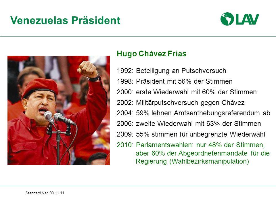 Standard Ven.30.11.11 Hugo Chávez Frias 1992: Beteiligung an Putschversuch 1998: Präsident mit 56% der Stimmen 2000: erste Wiederwahl mit 60% der Stim