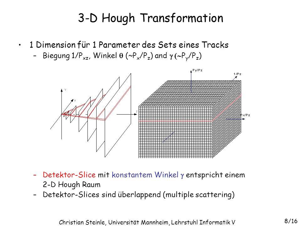 1 Dimension für 1 Parameter des Sets eines Tracks –Biegung 1/P xz, Winkel  (~P x /P z ) and  P y /P z ) –Detektor-Slice mit konstantem Winkel  e
