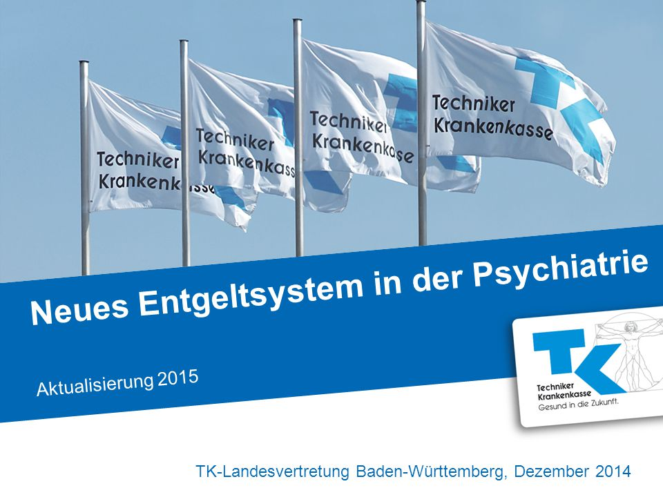 2| Die Struktur und Qualität in der stationären psychiatrischen Versorgung ist in Baden- Württemberg gewährleistet Neues Entgeltsystem in der Psychiatrie, TK-Landesvertretung, Dezember 2014 Krankenhäuser mit entsprechender Fachabteilung (voll- und teilstationär) | 85 Betten/Plätze Kinder-und Jugendpsychiatrie und - psychotherapie | 835 Betten/Plätze Psychiatrie, Psychotherapie und Psychosomatik | 9.158 TK-Patienten 2013 | über 10.000 TK-Ausgaben 2013 | über 68 Mio.