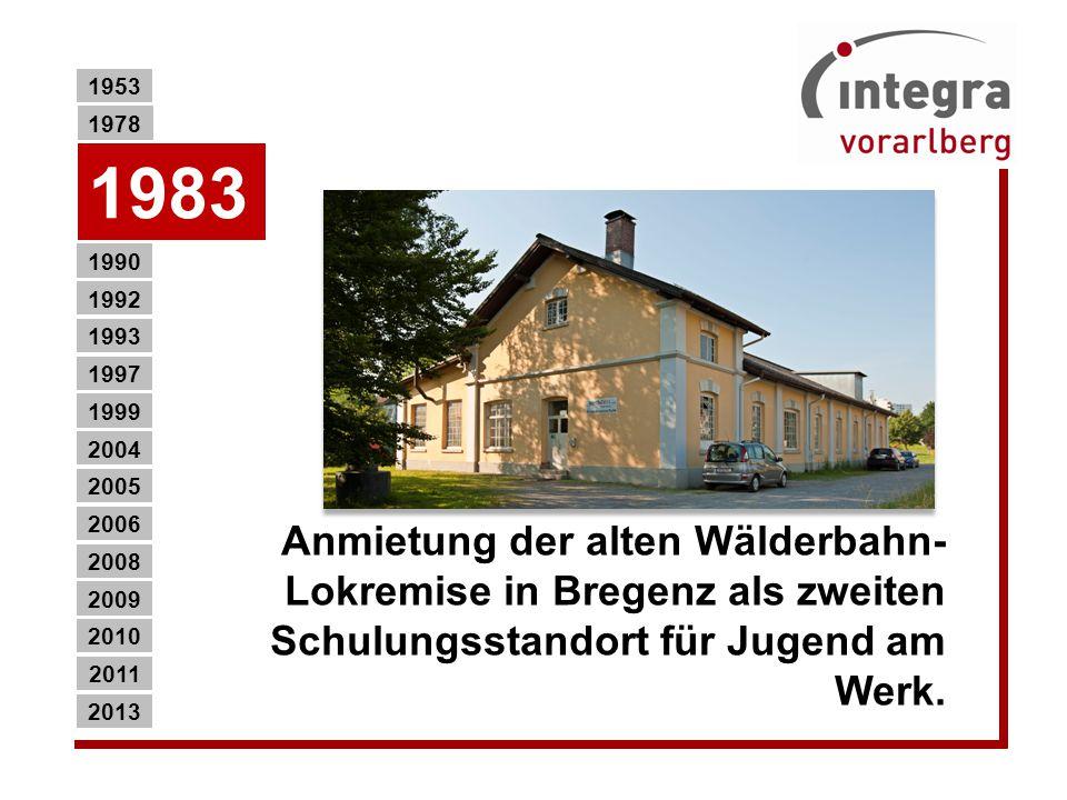 1990 2013 2011 2010 2009 2008 2006 2005 2004 1999 1997 1993 1992 1983 1953 1978 Eröffnung des DOWAS Arbeitsprojektes (DAP) als erstes Arbeitslosenprojekt in Vorarlberg in Bregenz (Allroundtätigkeiten bzw.