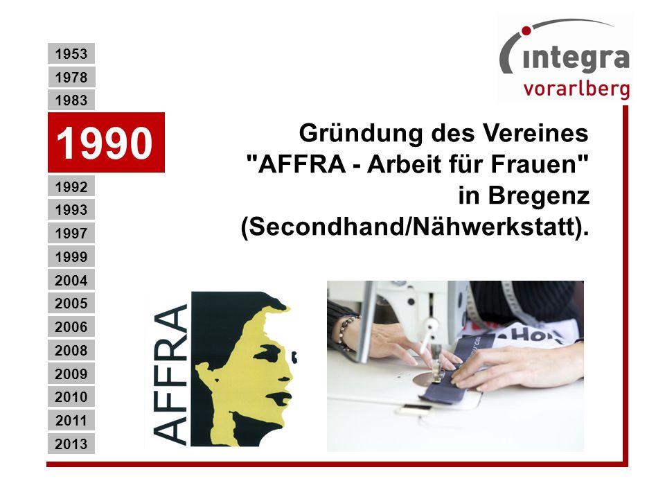 Gründung des Vereines AFFRA - Arbeit für Frauen in Bregenz (Secondhand/Nähwerkstatt).