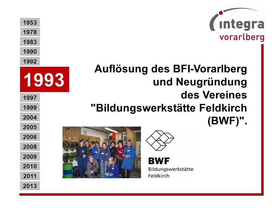 Auflösung des BFI-Vorarlberg und Neugründung des Vereines Bildungswerkstätte Feldkirch (BWF) .