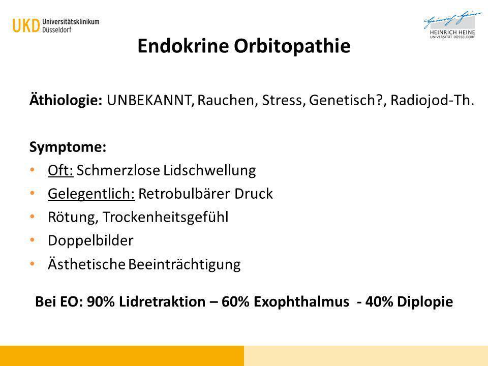 Endokrine Orbitopathie Äthiologie: UNBEKANNT, Rauchen, Stress, Genetisch?, Radiojod-Th. Symptome: Oft: Schmerzlose Lidschwellung Gelegentlich: Retrobu