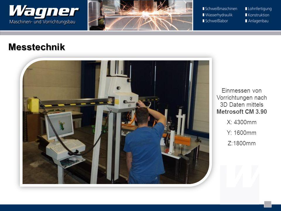 Messtechnik Einmessen von Vorrichtungen nach 3D Daten mittels Metrosoft CM 3.90 X: 4300mm Y: 1600mm Z:1800mm