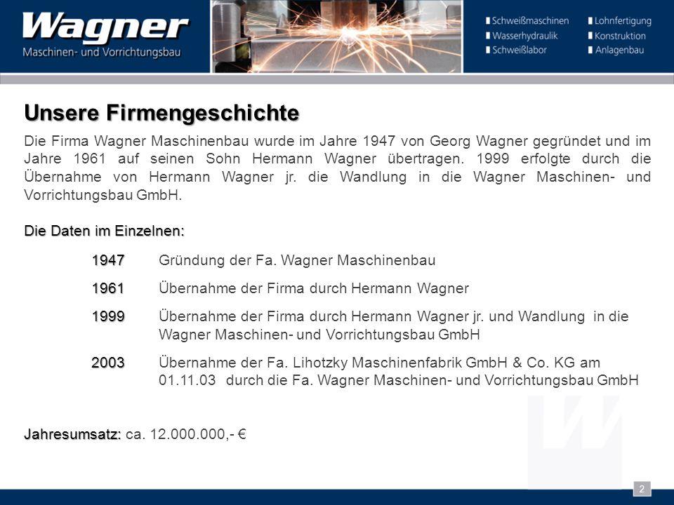 2 Die Firma Wagner Maschinenbau wurde im Jahre 1947 von Georg Wagner gegründet und im Jahre 1961 auf seinen Sohn Hermann Wagner übertragen. 1999 erfol