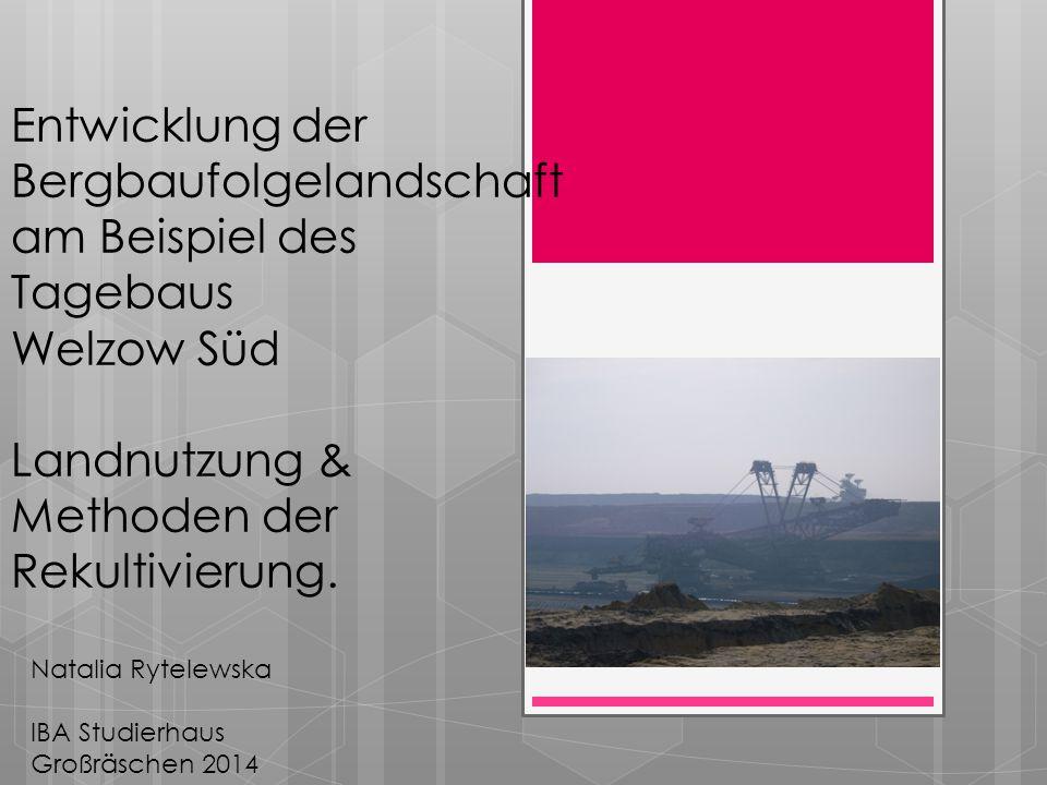Entwicklung der Bergbaufolgelandschaft am Beispiel des Tagebaus Welzow Süd Landnutzung & Methoden der Rekultivierung. Natalia Rytelewska IBA Studierha