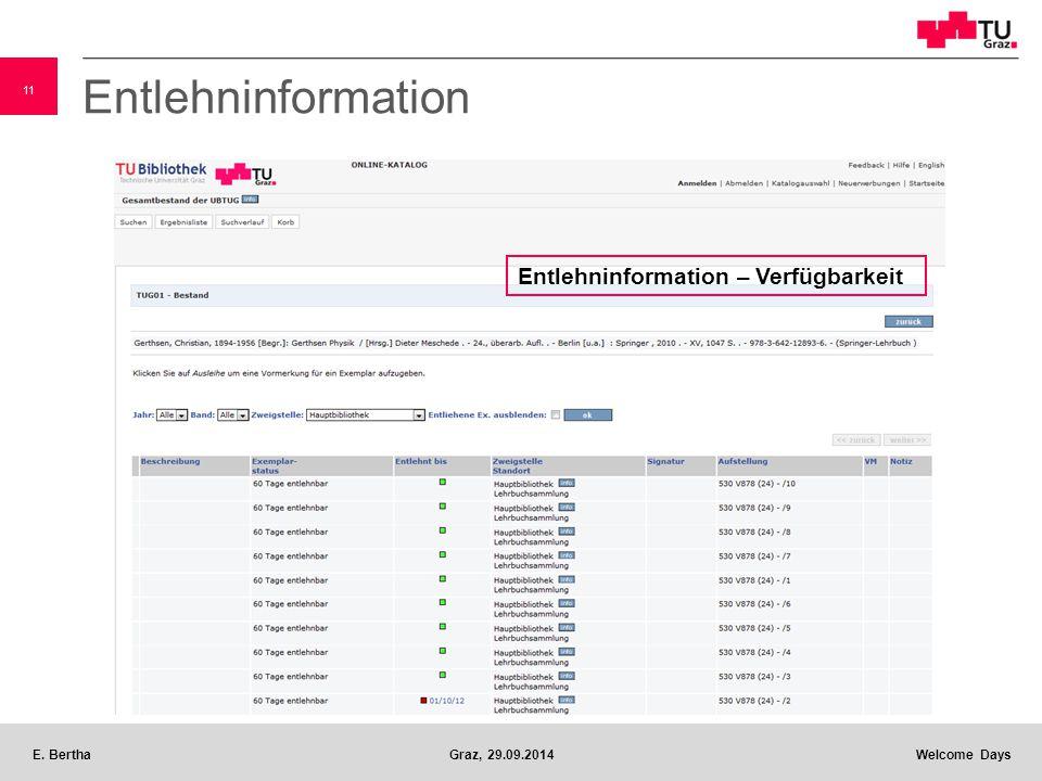 11 E. BerthaGraz, 29.09.2014 Welcome Days Entlehninformation Entlehninformation – Verfügbarkeit