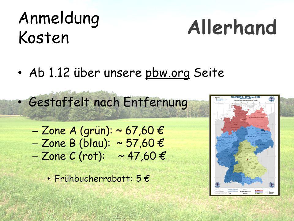 Anmeldung Kosten Ab 1.12 über unsere pbw.org Seite Gestaffelt nach Entfernung – Zone A (grün): ~ 67,60 € – Zone B (blau): ~ 57,60 € – Zone C (rot): ~
