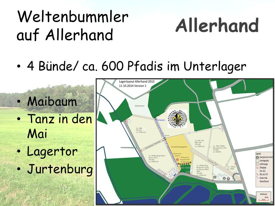 Weltenbummler auf Allerhand 4 Bünde/ ca. 600 Pfadis im Unterlager Maibaum Tanz in den Mai Lagertor Jurtenburg Allerhand