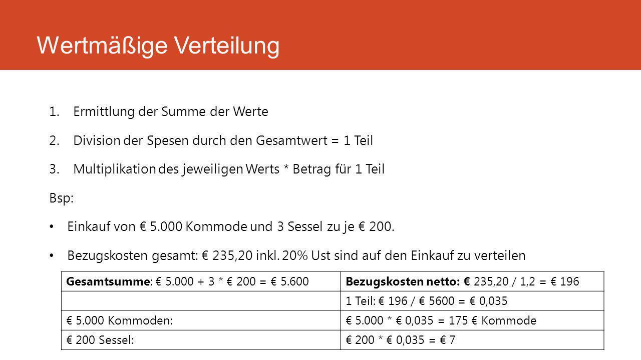 1.Ermittlung der Summe der Werte 2.Division der Spesen durch den Gesamtwert = 1 Teil 3.Multiplikation des jeweiligen Werts * Betrag für 1 Teil Bsp: Einkauf von € 5.000 Kommode und 3 Sessel zu je € 200.