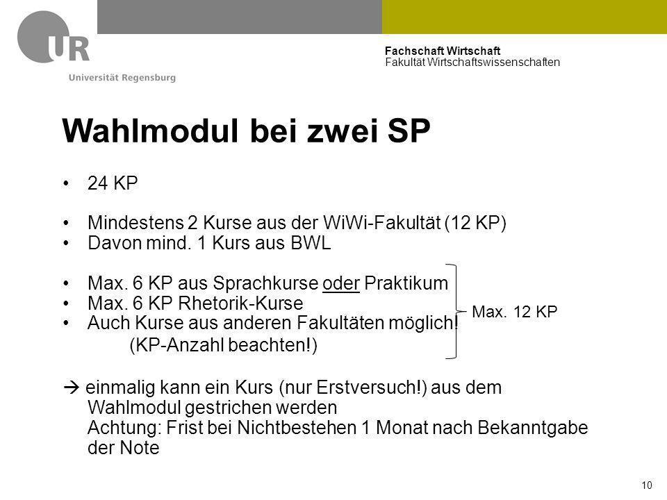 Fachschaft Wirtschaft Fakultät Wirtschaftswissenschaften 10 Wahlmodul bei zwei SP 24 KP Mindestens 2 Kurse aus der WiWi-Fakultät (12 KP) Davon mind. 1