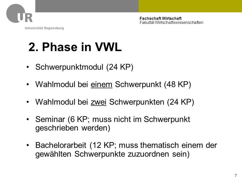 Fachschaft Wirtschaft Fakultät Wirtschaftswissenschaften 7 2. Phase in VWL Schwerpunktmodul (24 KP) Wahlmodul bei einem Schwerpunkt (48 KP) Wahlmodul