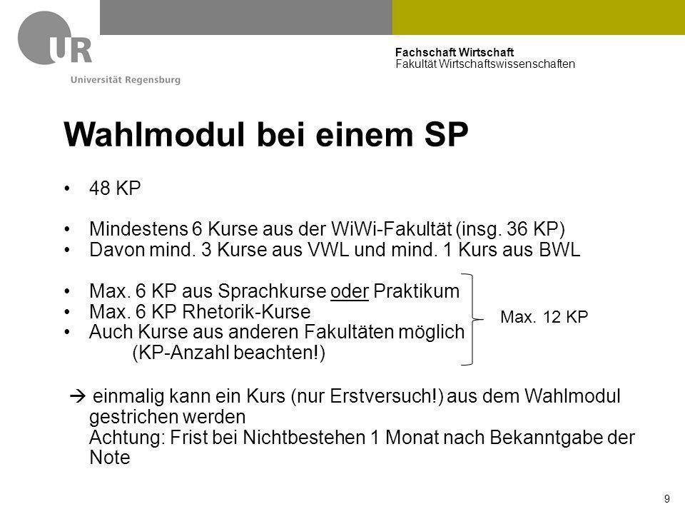 Fachschaft Wirtschaft Fakultät Wirtschaftswissenschaften 9 Wahlmodul bei einem SP 48 KP Mindestens 6 Kurse aus der WiWi-Fakultät (insg. 36 KP) Davon m