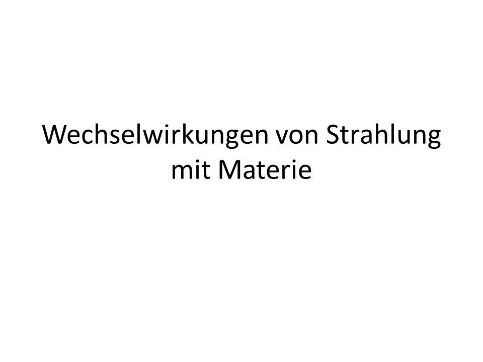 Inhalt Wechselwirkung von Alpha-Strahlung mit Materie Wechselwirkung von Beta-Strahlung mit Materien Wechselwirkung von Gamma-Strahlung mit Materie Wechselwirkung von Neutronen mit Materie