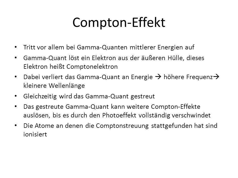 Compton-Effekt Tritt vor allem bei Gamma-Quanten mittlerer Energien auf Gamma-Quant löst ein Elektron aus der äußeren Hülle, dieses Elektron heißt Comptonelektron Dabei verliert das Gamma-Quant an Energie  höhere Frequenz  kleinere Wellenlänge Gleichzeitig wird das Gamma-Quant gestreut Das gestreute Gamma-Quant kann weitere Compton-Effekte auslösen, bis es durch den Photoeffekt vollständig verschwindet Die Atome an denen die Comptonstreuung stattgefunden hat sind ionisiert