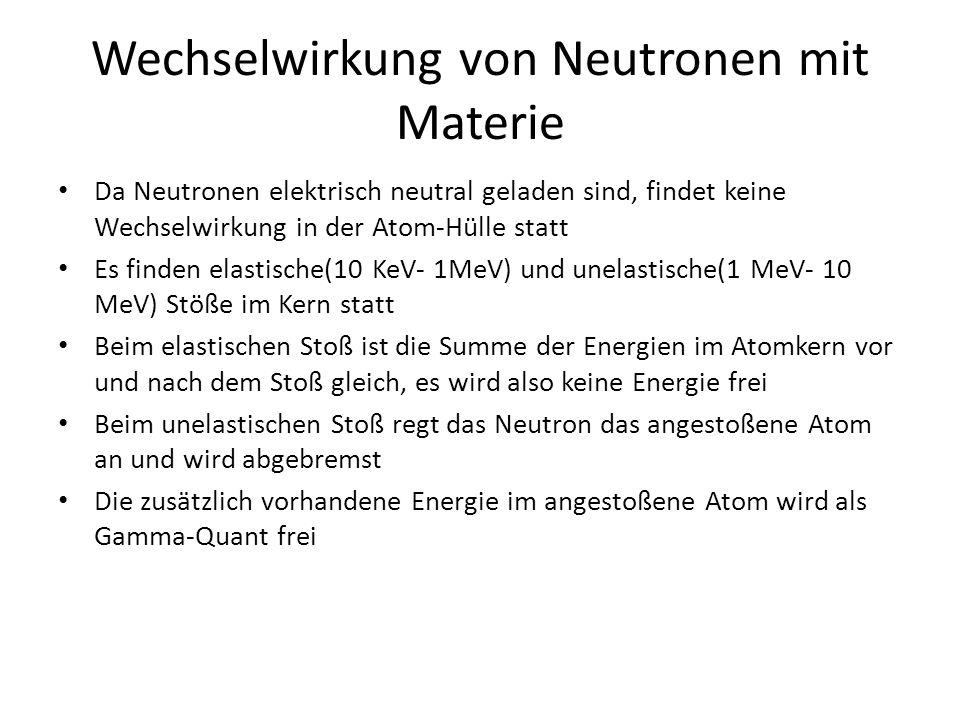 Wechselwirkung von Neutronen mit Materie Da Neutronen elektrisch neutral geladen sind, findet keine Wechselwirkung in der Atom-Hülle statt Es finden elastische(10 KeV- 1MeV) und unelastische(1 MeV- 10 MeV) Stöße im Kern statt Beim elastischen Stoß ist die Summe der Energien im Atomkern vor und nach dem Stoß gleich, es wird also keine Energie frei Beim unelastischen Stoß regt das Neutron das angestoßene Atom an und wird abgebremst Die zusätzlich vorhandene Energie im angestoßene Atom wird als Gamma-Quant frei