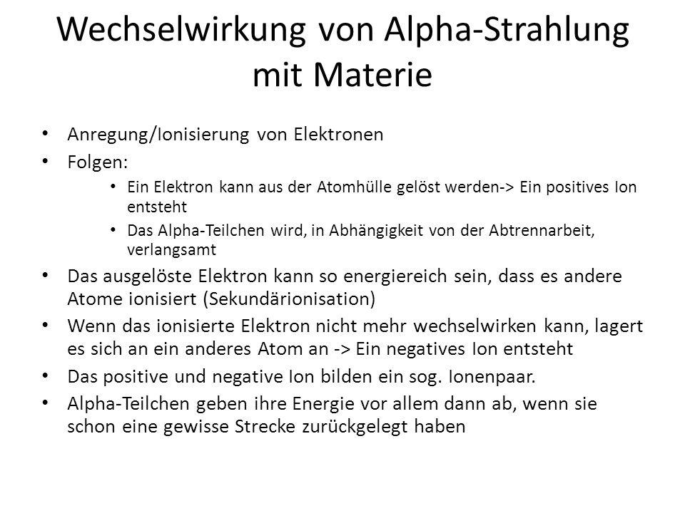 Energieabgabe Alpha-Teilchen
