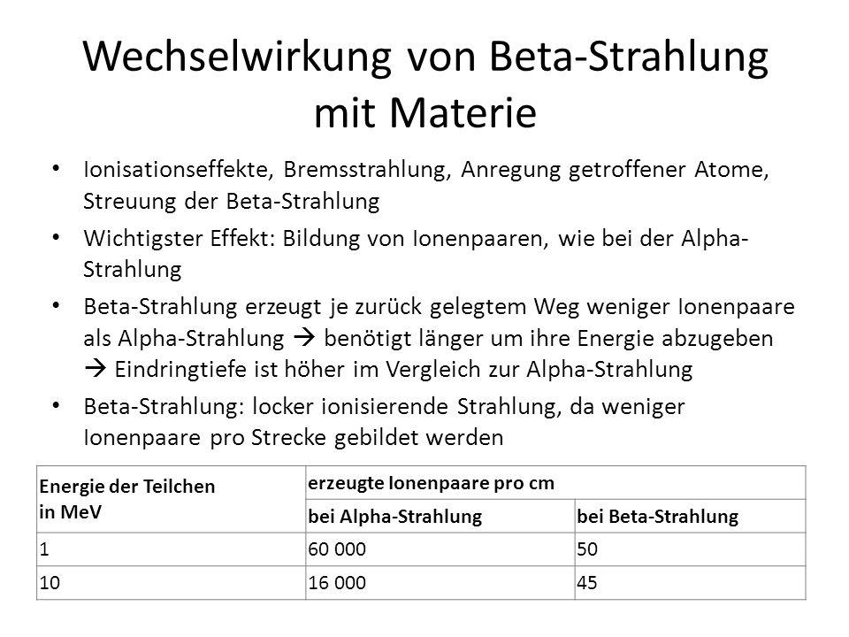 Wechselwirkung von Beta-Strahlung mit Materie Ionisationseffekte, Bremsstrahlung, Anregung getroffener Atome, Streuung der Beta-Strahlung Wichtigster Effekt: Bildung von Ionenpaaren, wie bei der Alpha- Strahlung Beta-Strahlung erzeugt je zurück gelegtem Weg weniger Ionenpaare als Alpha-Strahlung  benötigt länger um ihre Energie abzugeben  Eindringtiefe ist höher im Vergleich zur Alpha-Strahlung Beta-Strahlung: locker ionisierende Strahlung, da weniger Ionenpaare pro Strecke gebildet werden Energie der Teilchen in MeV erzeugte Ionenpaare pro cm bei Alpha-Strahlungbei Beta-Strahlung 160 00050 1016 00045