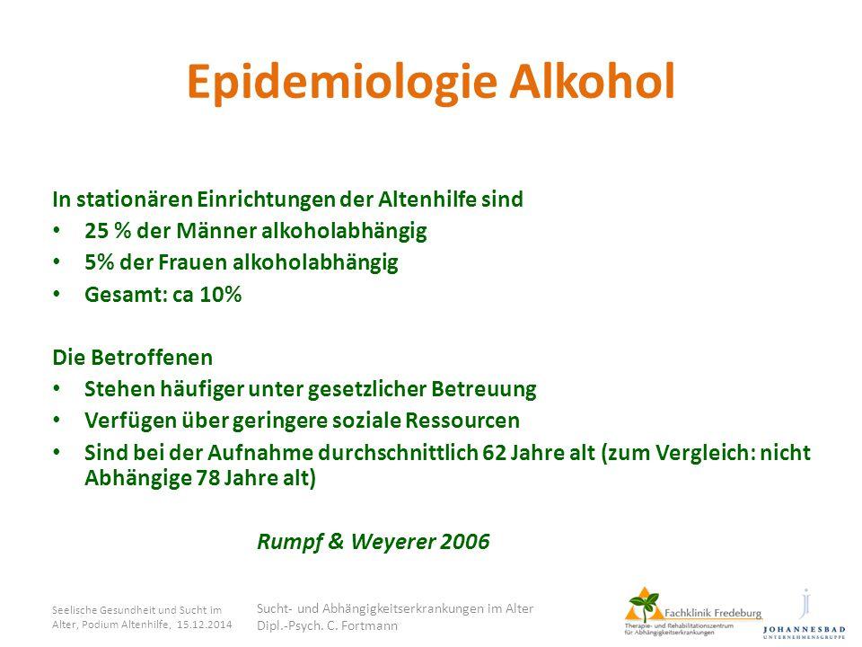 Epidemiologie Alkohol Seelische Gesundheit und Sucht im Alter, Podium Altenhilfe, 15.12.2014 Sucht- und Abhängigkeitserkrankungen im Alter Dipl.-Psych