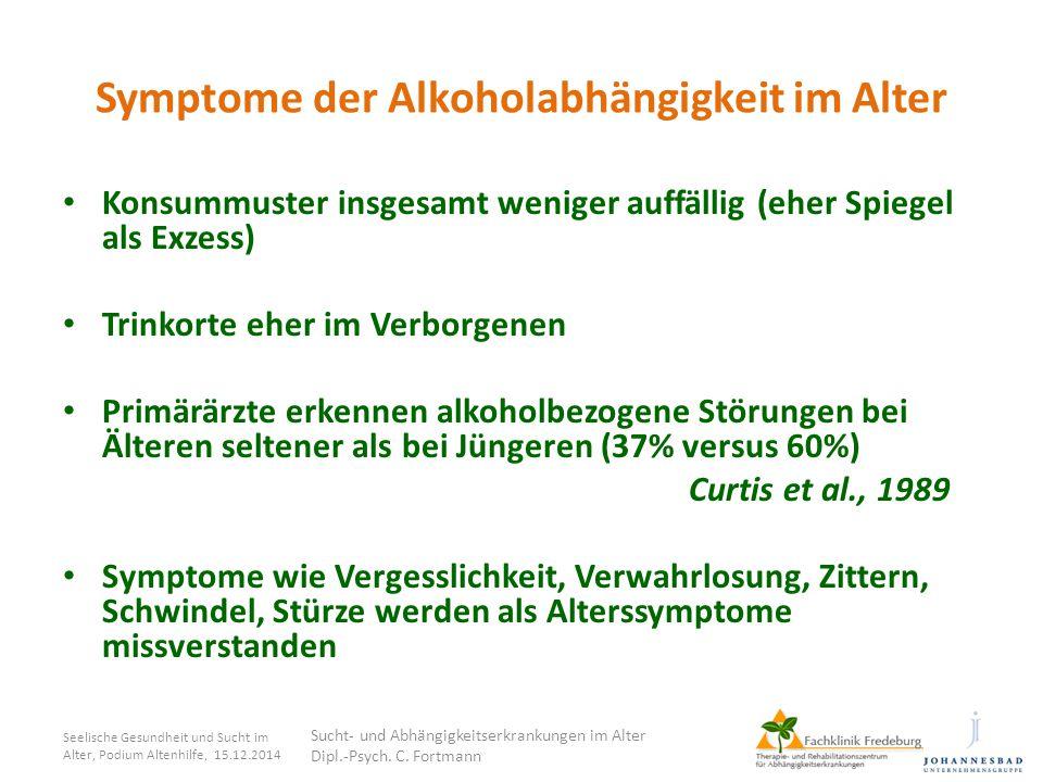 Symptome der Alkoholabhängigkeit im Alter Konsummuster insgesamt weniger auffällig (eher Spiegel als Exzess) Trinkorte eher im Verborgenen Primärärzte