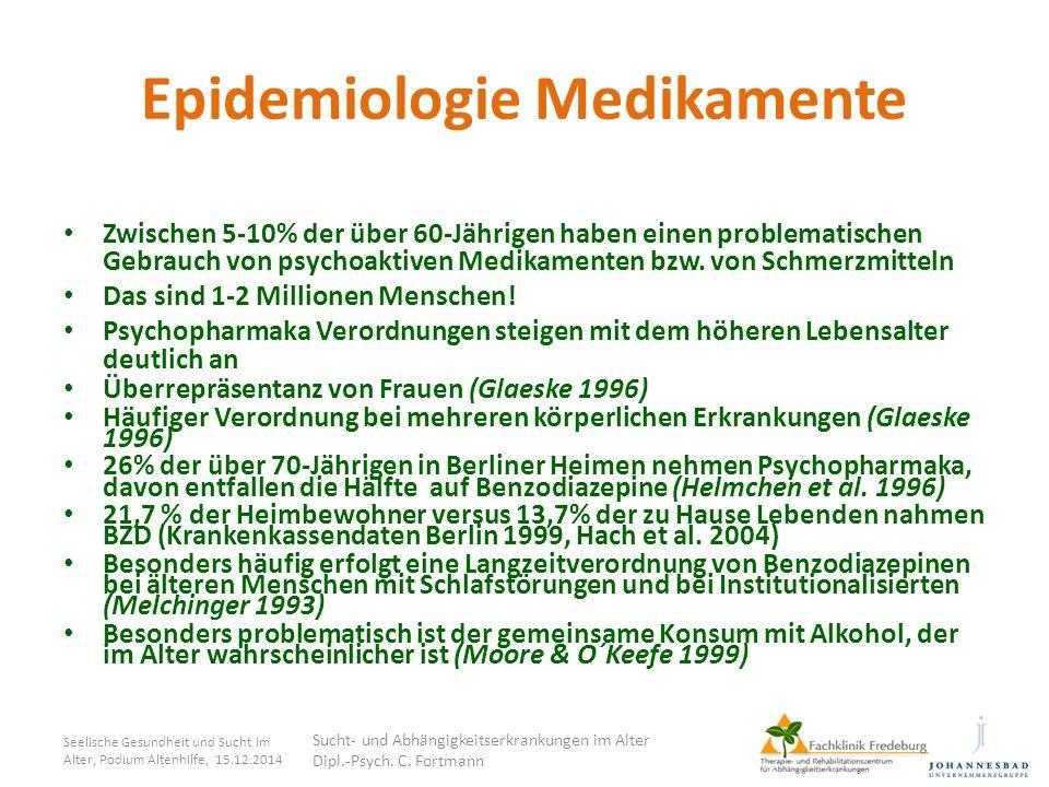 Epidemiologie Medikamente Zwischen 5-10% der über 60-Jährigen haben einen problematischen Gebrauch von psychoaktiven Medikamenten bzw. von Schmerzmitt