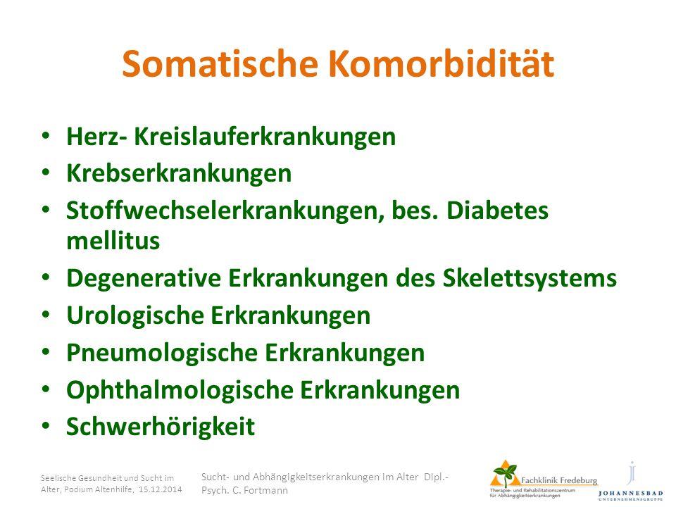 Somatische Komorbidität Herz- Kreislauferkrankungen Krebserkrankungen Stoffwechselerkrankungen, bes. Diabetes mellitus Degenerative Erkrankungen des S