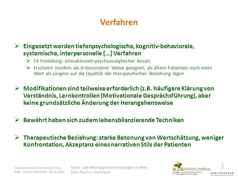 Verfahren  Eingesetzt werden tiefenpsychologische, kognitiv-behaviorale, systemische, interpersonelle […] Verfahren  FK Fredeburg: interaktionell-ps