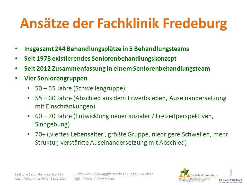Ansätze der Fachklinik Fredeburg Insgesamt 244 Behandlungsplätze in 5 Behandlungsteams Seit 1978 existierendes Seniorenbehandlungskonzept Seit 2012 Zu