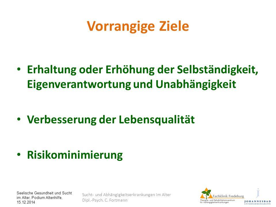 Seelische Gesundheit und Sucht im Alter, Podium Altenhilfe, 15.12.2014 Vorrangige Ziele Erhaltung oder Erhöhung der Selbständigkeit, Eigenverantwortun