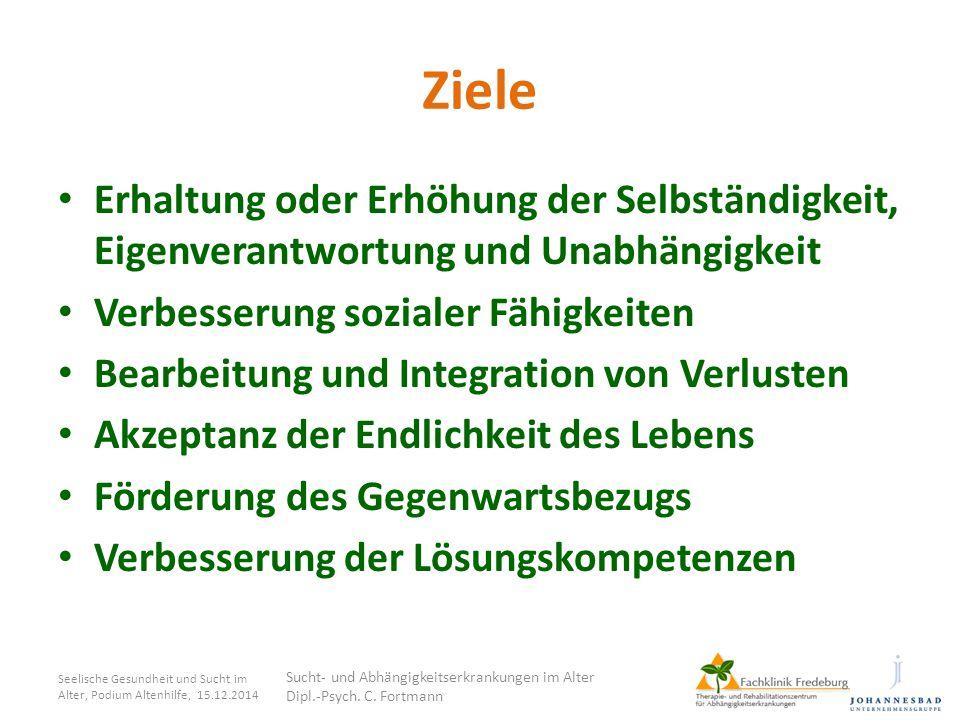 Ziele Erhaltung oder Erhöhung der Selbständigkeit, Eigenverantwortung und Unabhängigkeit Verbesserung sozialer Fähigkeiten Bearbeitung und Integration