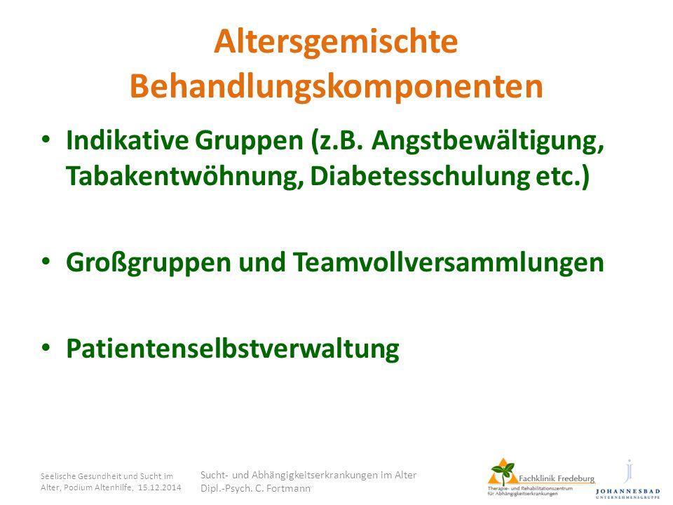 Altersgemischte Behandlungskomponenten Indikative Gruppen (z.B. Angstbewältigung, Tabakentwöhnung, Diabetesschulung etc.) Großgruppen und Teamvollvers