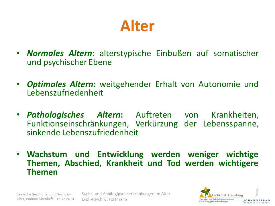 Ist-Situation Alkohol: Anteil 60+ in ambulanter Suchthilfe unter 5%, stationär 5,2% (Welsch & Sonntag, 2003) Benzodiazepine: hohe Abstinenzquoten (63% bei Pat.