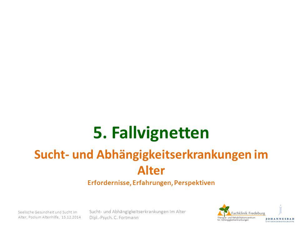 Sucht- und Abhängigkeitserkrankungen im Alter Erfordernisse, Erfahrungen, Perspektiven 5. Fallvignetten Seelische Gesundheit und Sucht im Alter, Podiu